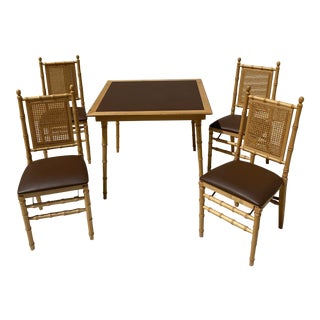 Vintage MCM Faux Bamboo Stakmore Folding Game Table Set - 5 Pieces For Sale