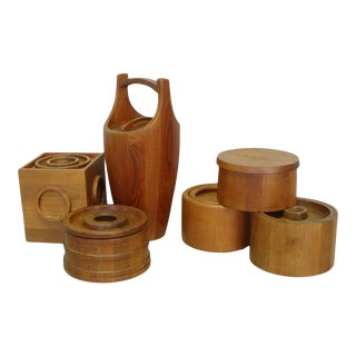 Danish Teak Ice Bucket Collection by Jens Quistgaard JHQ Individually Priced - 6 Pieces For Sale