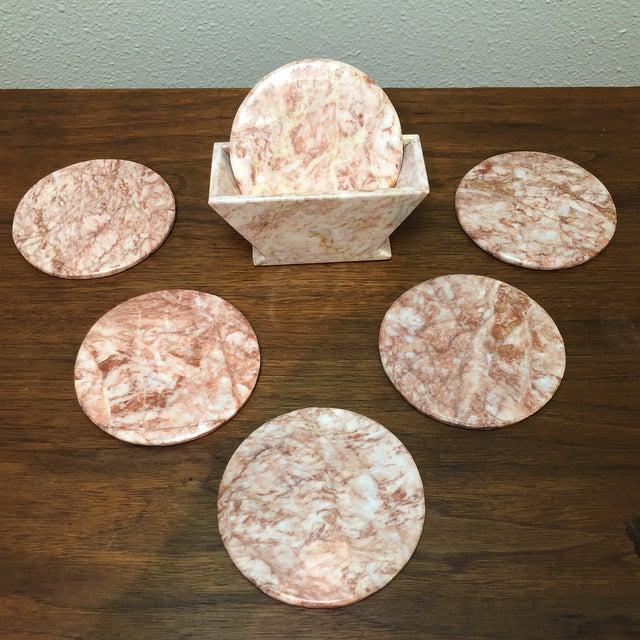 Gemstone Vintage Art Deco Pink Onyx Coaster Set For Sale - Image 7 of 7
