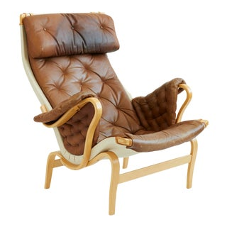 1970s Vintage Leather Pernilla Chair by Bruno Mathsson For Sale