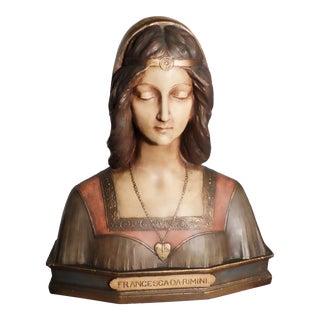 Bust of Francesca Da Rimini, Cast and Polychromed For Sale