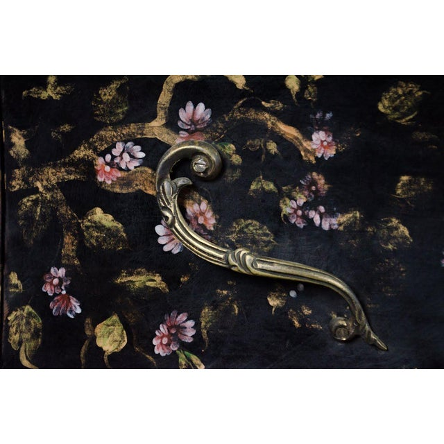 Brass 20th C. French Louis XV Style Chinoiserie Marble Top Bombe Commode For Sale - Image 7 of 13