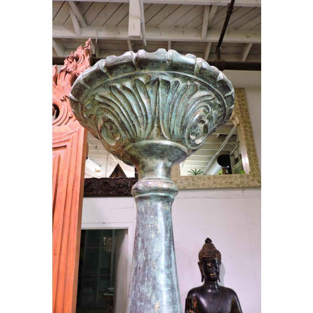 Late 20th Century Tall Bronze Candle Holde For Sale - Image 5 of 6