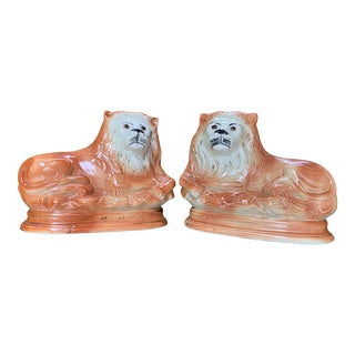 Staffordshire Ceramic Lion Figurines - a Pair For Sale