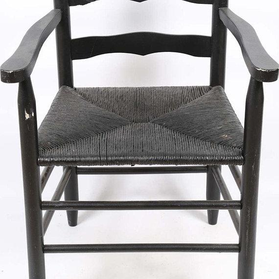 Paint Vintage Country Farmhouse Rush Seat Ladder Back Black Dining Chairs - Set of 6 For Sale - Image 7 of 8