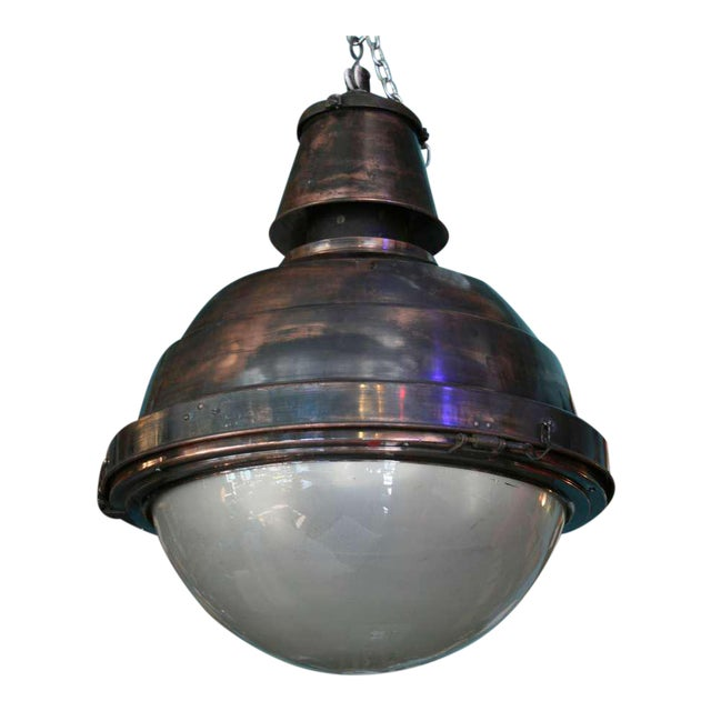 Large Scale Copper and Glass Globe Ball Light For Sale