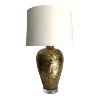 Vintage Chapman Brass Weave Lamp For Sale