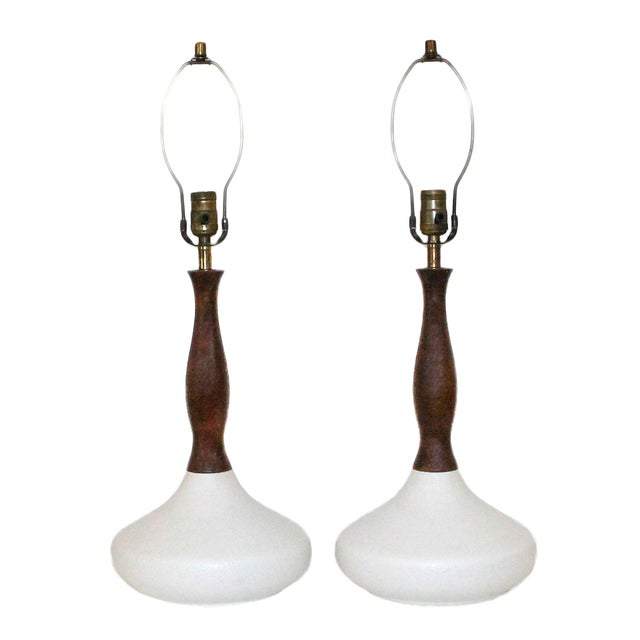 Danish Modern Sculptural White Pottery Lamps, Pair - Image 1 of 7