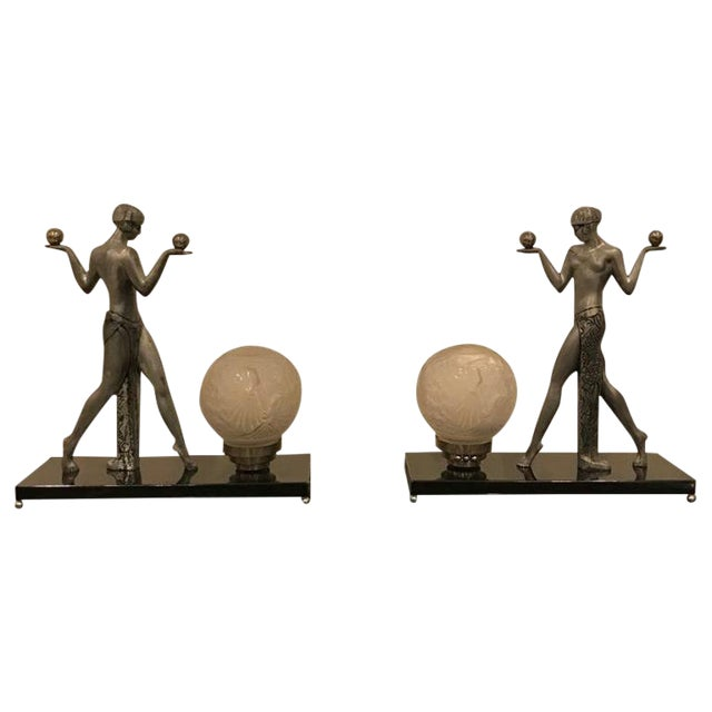 Early 20th Century French Art Deco Muller Frères Luneville Table Lamps - a Pair For Sale