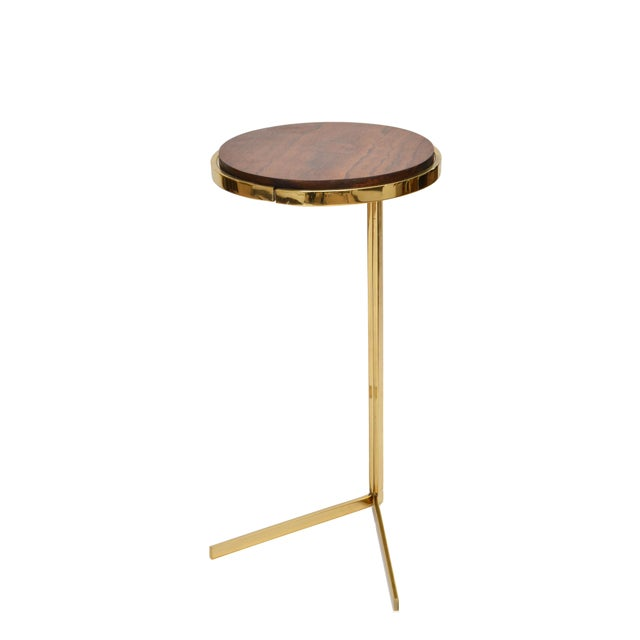 Personal Brass with Wooden Top Side Table - Image 8 of 9