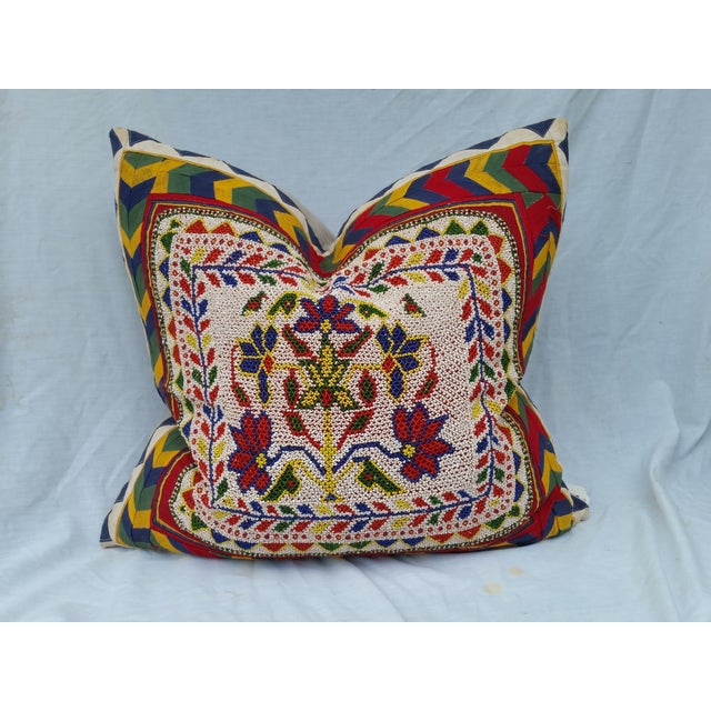 Pillow with hand beaded tribal design Made in Rajasthan India. Custom made for Chairish. New linen back. Plump feather and...