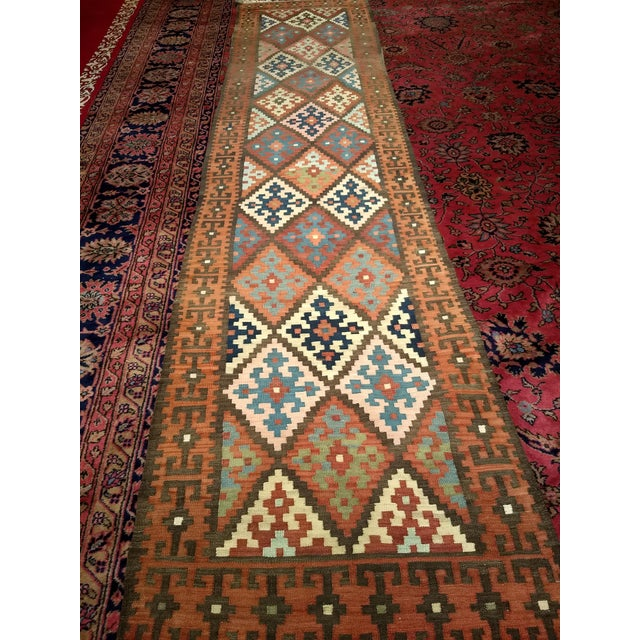 Persian Flat Woven Kilim Runner - 2′10″ × 12′3″ For Sale - Image 12 of 13