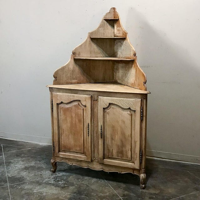 Wood Antique Country French Stripped Corner Cabinet For Sale - Image 7 of 13