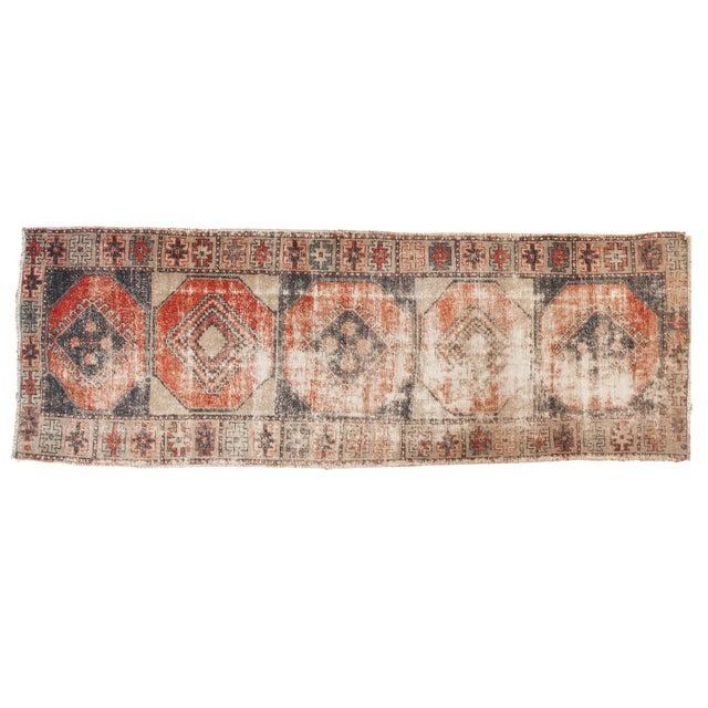 "Vintage Distressed Oushak Rug Runner - 3'8"" X 10'3"" For Sale - Image 12 of 12"