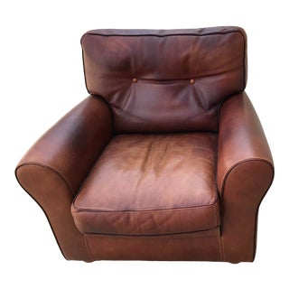 Vintage Italian Leather Club Chair For Sale
