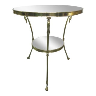 Directoire Style Brass Gueridon Side Table w/ Swan Head Accents For Sale
