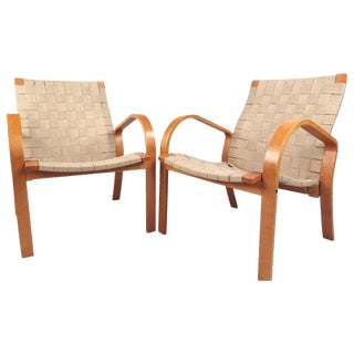 Pair of Mid-Century Alvar Aalto Style Linen Strap Armchairs For Sale