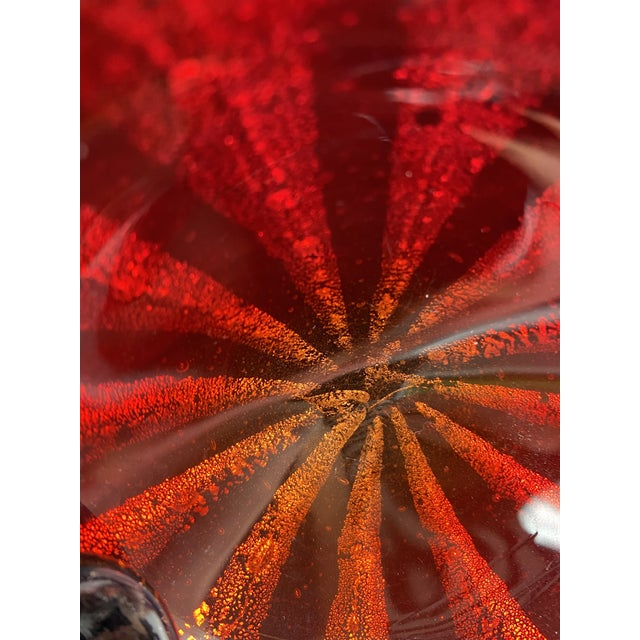 1950s Mid-Century Alfredo Barbini Murano Art Glass Red Circus Tent Bowl For Sale - Image 5 of 11