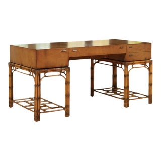 Stunning Restored Vintage Double Pedestal Campaign Desk in Birdseye Maple