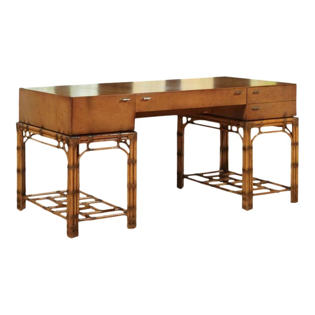 Stunning Restored Vintage Double Pedestal Campaign Desk in Birdseye Maple For Sale