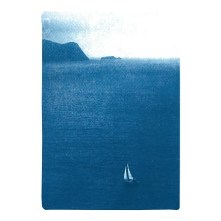"""""""Misty Sailboat Journey"""" Limited Edition Seascape on Watercolor Paper by Kind of Cyan For Sale"""