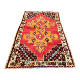 Vintage Turkish Handmade Floral Anatolian Hand Knotted Rug For Sale