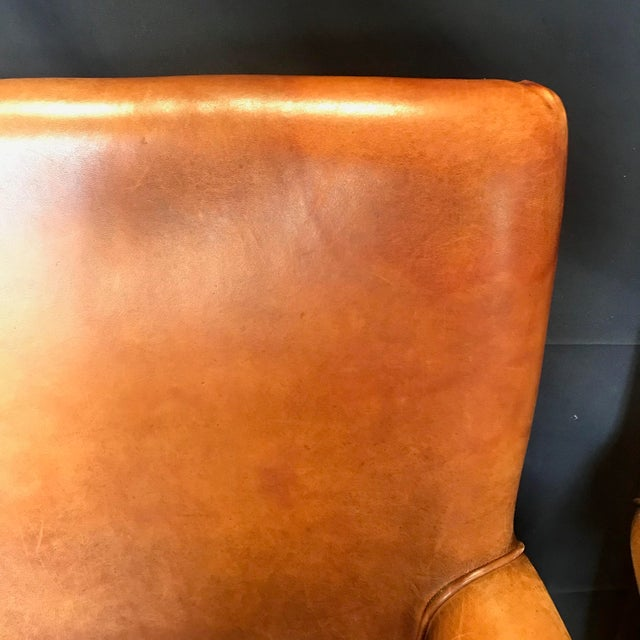 French Vintage Leather Armchairs -Set of 6 For Sale - Image 9 of 13