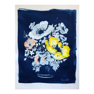 """Yellow Poppy"" Contemporary Botanical Cyanotype Print by Rosha Nutt For Sale"