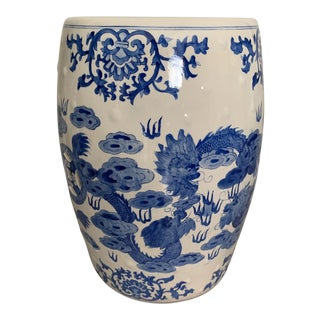Vintage Chinoiserie Off White and Blue Ceramic Garden Stool / Side Table With Dragon Design For Sale