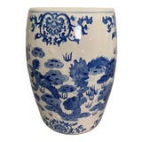 Image of White and Blue Chinoserie Ceramic Garden Stool / Side Table With Dragon Design For Sale