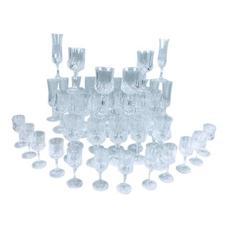 Stunning 'Longchamp' Lead Crystal Stemware Set by Cristal D'Arques, Service for 12 - 48 Pieces For Sale