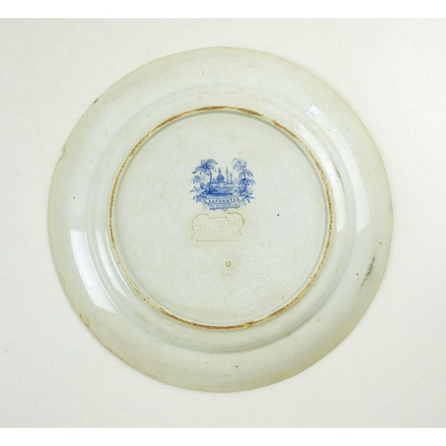 Boho Chic Antique Blue & White Transferware Plate Euphrates Pattern For Sale - Image 3 of 5