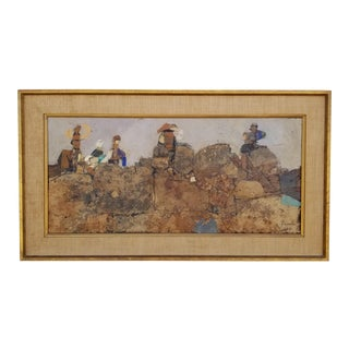 """1960s """"People on Rock"""" Painting by Fischer For Sale"""