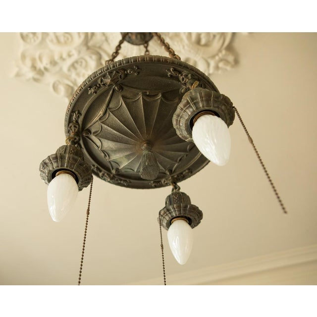 Pair of Two Victorian Original Flush Mount Chandelier - Image 2 of 8