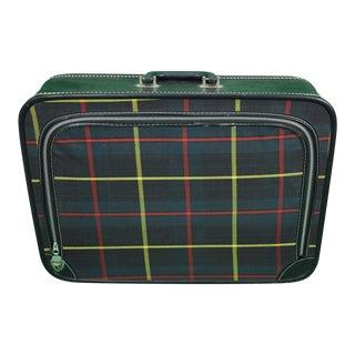 Tartan Canvas Zip-Lid Suitcase For Sale