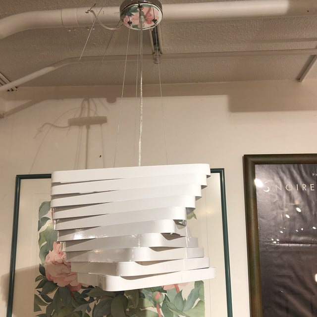 Design Plus Gallery presents a Modern Style 3-light hanging pendant. Ten triangular metal shapes that are cascading off...