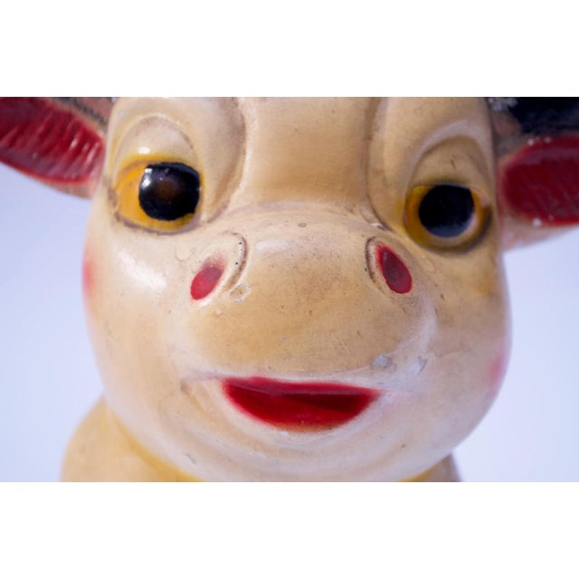 Plaster Large Vintage Chalkware Painted Bull For Sale - Image 7 of 13