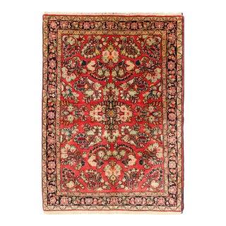 Vintage Mid-Century Persian Sarouk Rug - 3′5″ × 5′ For Sale