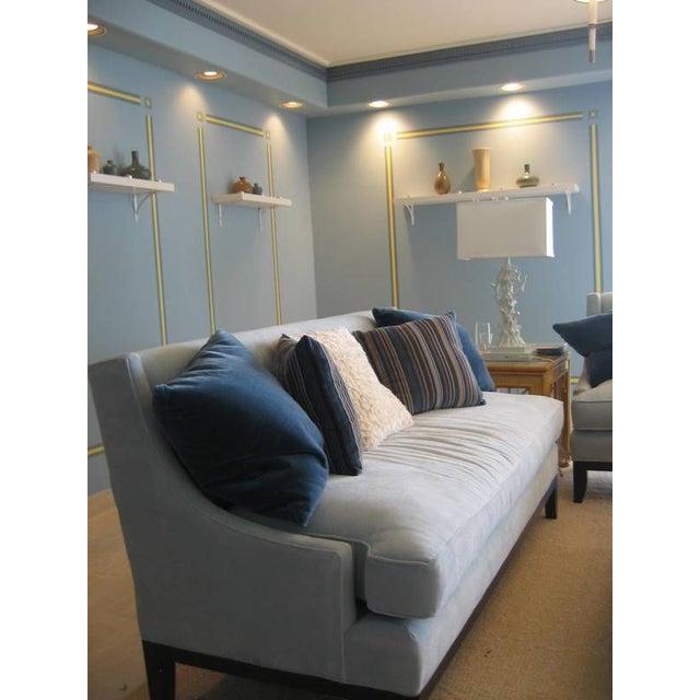 Blue Microfiber Sofa - Image 5 of 5