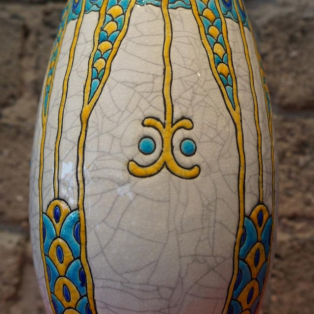 Boch Freres Keramis 1920s Charles Catteau Three Color Patterned Vase For Sale - Image 4 of 7