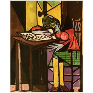 """1954 Pablo Picasso """"Seated Woman Reading"""", Large Period First Limited Italian Edition Lithograph For Sale"""