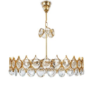 Palwa Gold Brass and Glass Large Chandelier Ceiling Lamp, 1960
