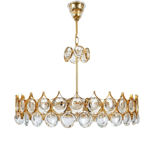 Image of Palwa Gold Brass and Glass Large Chandelier Ceiling Lamp, 1960