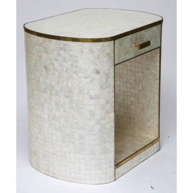 Brass Capiz Shell and Antiqued Brass Cabinet by Platt Collections For Sale - Image 7 of 11