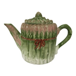 Vintage Majolica Asparagus Tea Pot and Lid For Sale