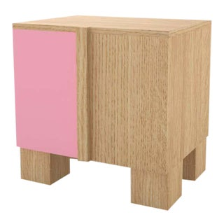 Contemporary 100 Bedside in Oak and Pink by Orphan Work, 2020 For Sale