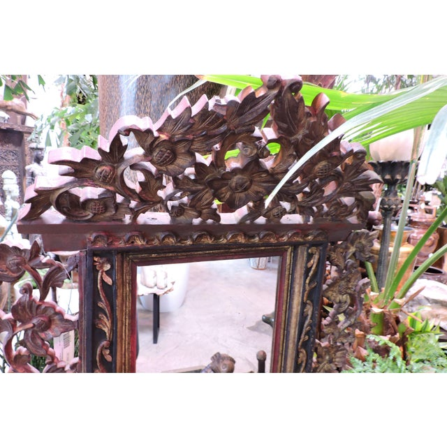 Ornately Carved Vanity Mirror From Madura Island For Sale - Image 4 of 7
