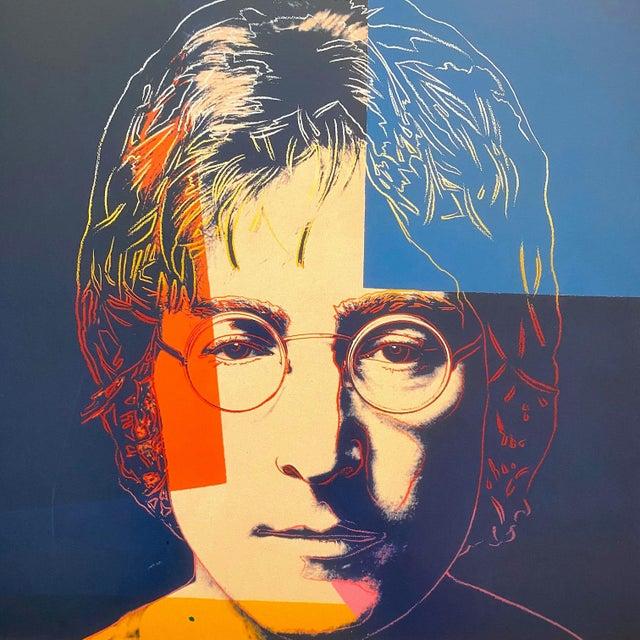 "Andy Warhol Andy Warhol Estate Vintage 1990 Framed Pop Art Lithograph Print "" John Lennon "" 1986 For Sale - Image 4 of 13"