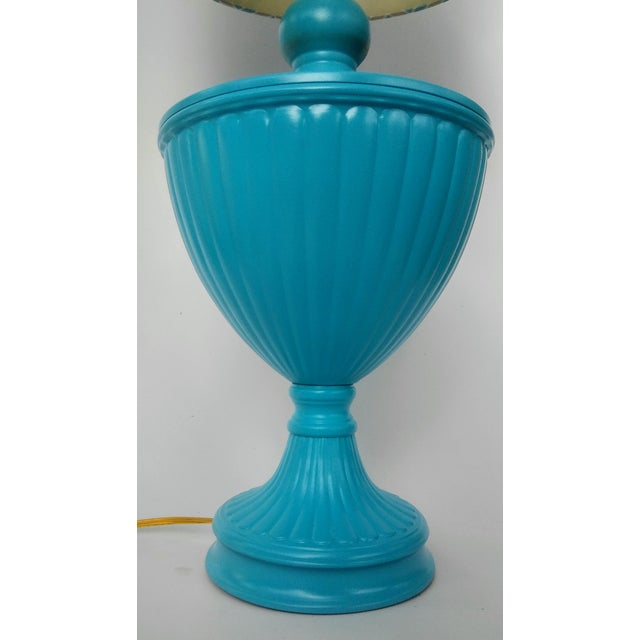 Hollywood Regency Turquoise Urn Table Lamp For Sale - Image 6 of 6