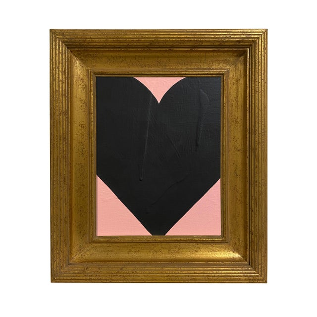 Ron Giusti Mini Heart Blush Black Painting, Framed For Sale - Image 4 of 4